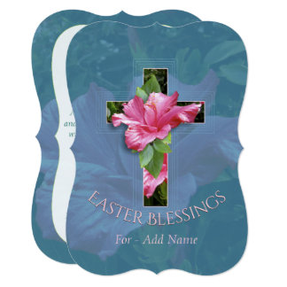 Easter Blessings Tropical Hibiscus Cross Greeting Card