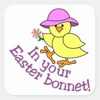 Easter Bonnet Square Sticker