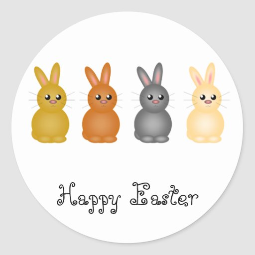 Easter Bunnies Round Sticker