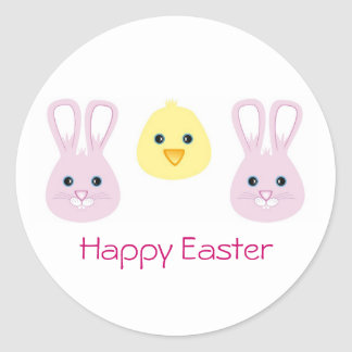 Easter Bunny and Chic, Happy Easter Round Sticker