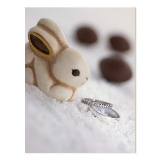Easter bunny and engagement rings in the snow postcard