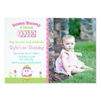 Easter Bunny Birthday Invitation 5x7 Card