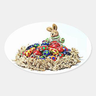 Easter Bunny Candy Nest Oval Sticker
