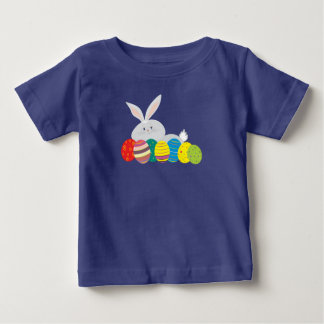 Easter Bunny Cartoon Cute Eggs Colorful Ornate Baby T-Shirt