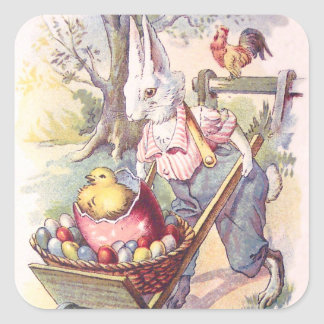 Easter Bunny Chick Colored Egg Square Sticker