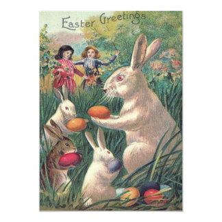 Easter Bunny Colored Egg Victorian Women 13 Cm X 18 Cm Invitation Card