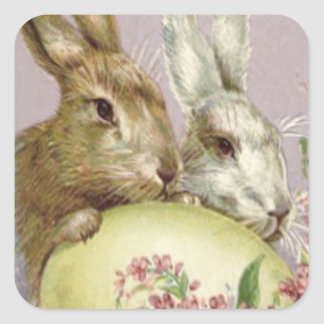 Easter Bunny Colored Painted Egg Pink Flower Square Sticker