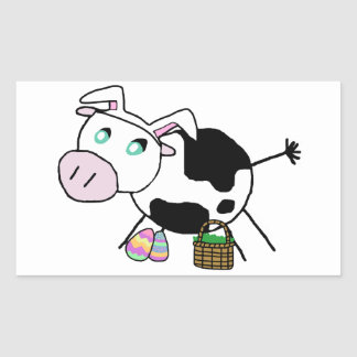 Easter Bunny Cow Rectangular Sticker