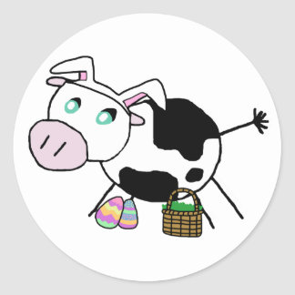 Easter Bunny Cow Stickers