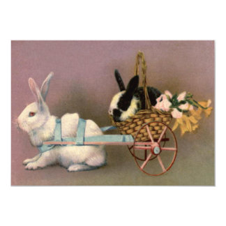 Easter Bunny Easter Basket Flowers Floral Cart Card