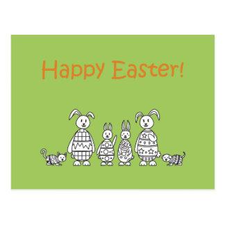 Easter Bunny Family Postcard