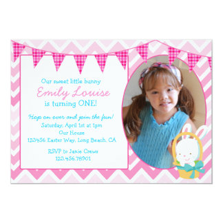Easter Bunny Girl Birthday Party Invitation
