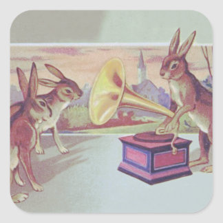 Easter Bunny Gramophone Phonograph Square Sticker