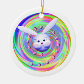 Easter Bunny Head Spin Christmas Ornament