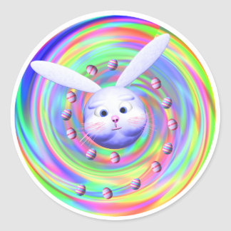 Easter Bunny Head Spin Round Stickers