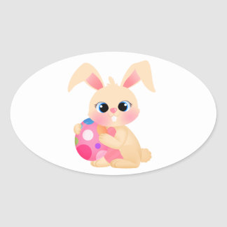 Easter Bunny Oval Sticker