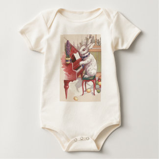 Easter Bunny Playing Piano Hyacinth Baby Bodysuit