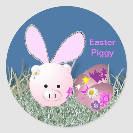 Easter bunny round sticker