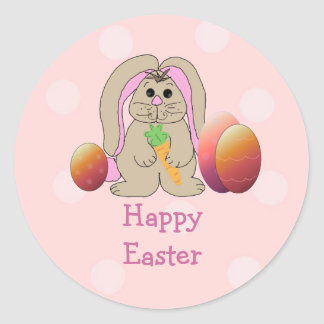 Easter Bunny With Easter Eggs Round Sticker