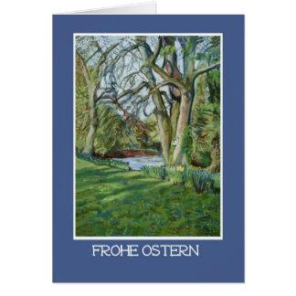 Easter Card, German Greeting, Riverbank in Spring