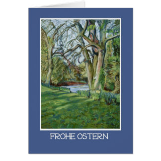 Easter Card, German Greeting, Riverbank in Spring Greeting Card