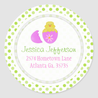 Easter Chick And Polka-dot Address Stickers
