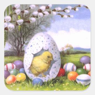 Easter Chick Colored Egg Cotton Square Sticker