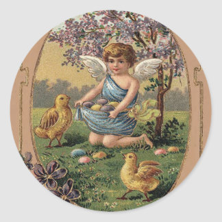Easter Chick Colored Painted Egg Cherry Tree Round Sticker