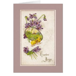 Easter - Chicks Violets & Village Antique Postcard Card