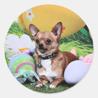 Easter - Chihuahua - Rambo Round Sticker