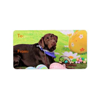 Easter - Chocolate Labrador - Hershey Address Label