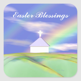 Easter Church and Rainbow Square Sticker