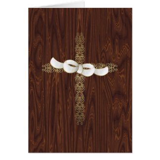 Easter Cross Against Wood Card