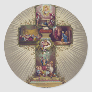 Easter Cross Round Sticker