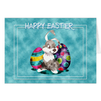 Easter - Cute Bunny with Eggs Card
