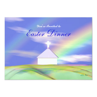 Easter Dinner Church and Rainbow 5x7 Paper Invitation Card