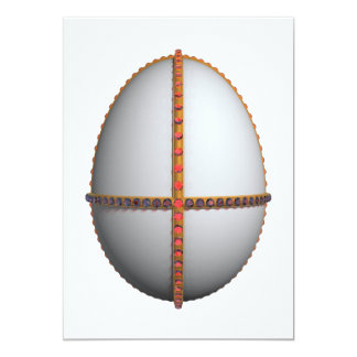 easter egg cross with gold and rubies 5x7 paper invitation card