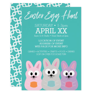 Easter Egg Hunt Advertisement - Cute Bunny Rabbits Card