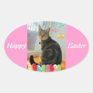 Easter Egg Indigo Oval Sticker