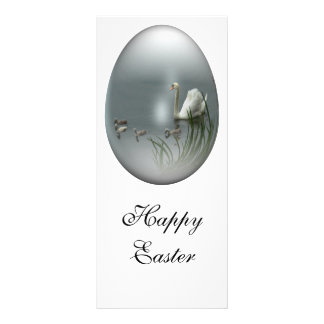 easter egg with swan and cygnets full colour rack card