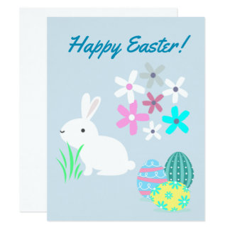 Easter Eggs & Bunny Rabbit Easter Greetings Card
