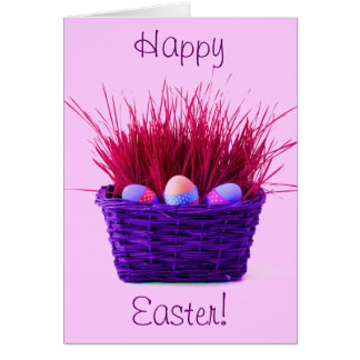 Easter Eggs in Basket X Greeting Card