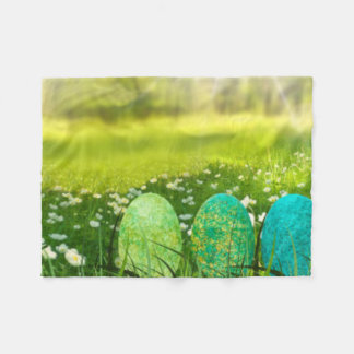 Easter Eggs in Spring Greens and Blues Fleece Blanket