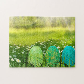 Easter Eggs in Spring Greens and Blues Jigsaw Puzzle