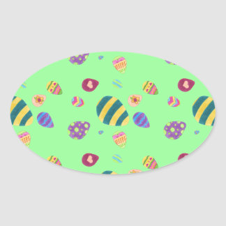 Easter Eggs Oval Sticker