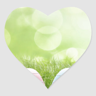Easter Eggs Heart Stickers