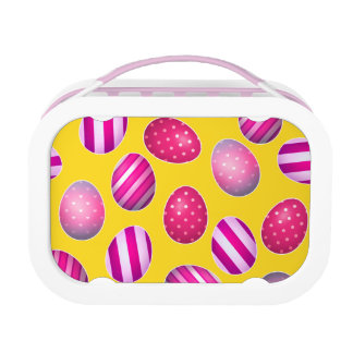 Easter Eggs Yellow and Pink Pattern Lunch Box