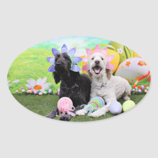 Easter - GoldenDoodles - Sadie and Izzie Oval Sticker