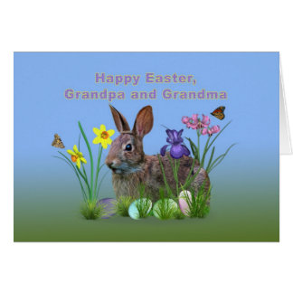 Easter, Grandparents,  Flowers, Eggs, and Rabbi Card