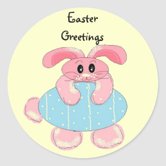 Easter Greetings Round Stickers